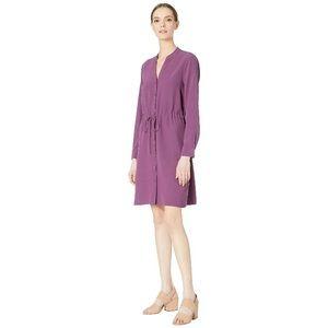 Eileen Fisher Purple Tie Waist Shirtdress